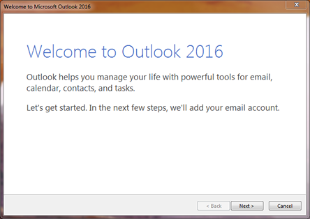 [Picture of Outlook Welcome Message]