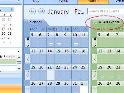 The RLAB Events Calendar will appear alongside your personal Outlook