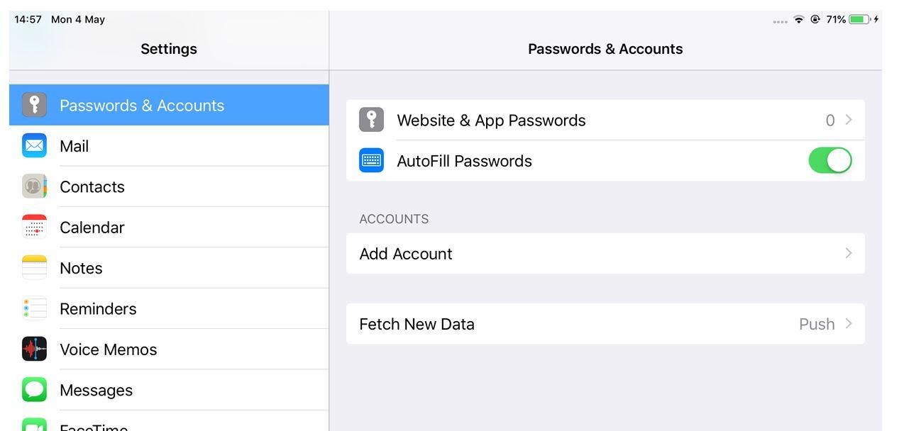 [Picture of Passwords & Accounts panel]