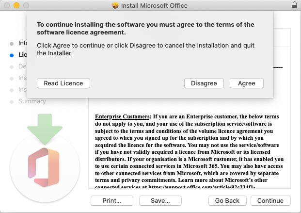 [Image of license agreement. ]