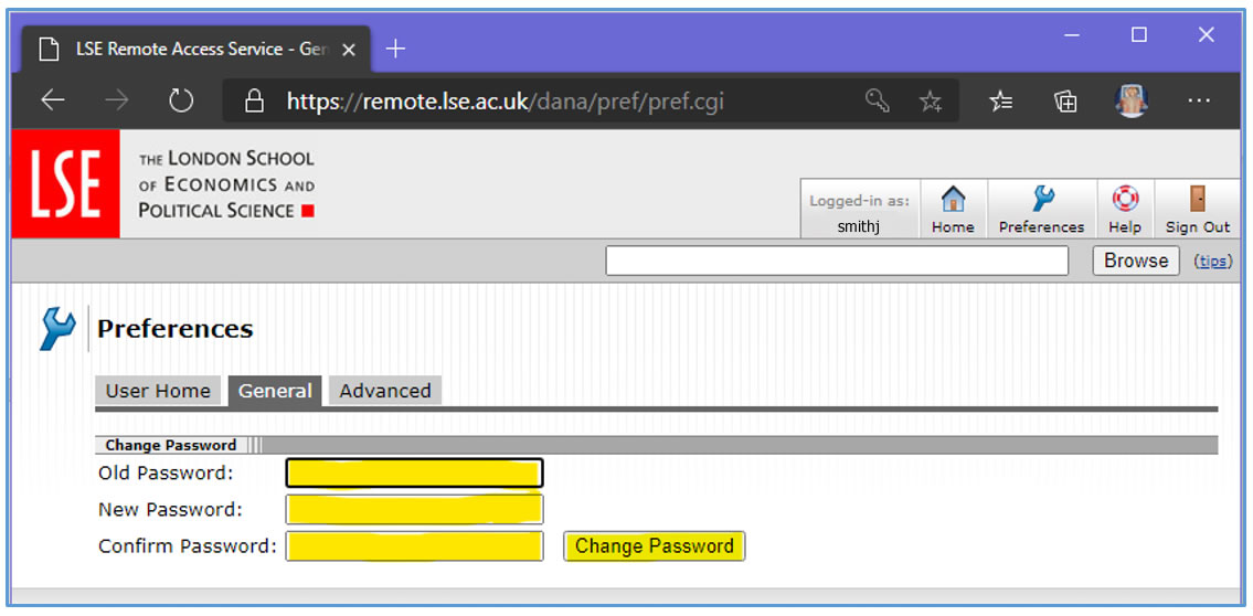 [Picture of general/change password dialog]