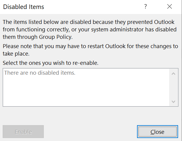 [Picture of DISABLED ITEMS DIALOG BOX]