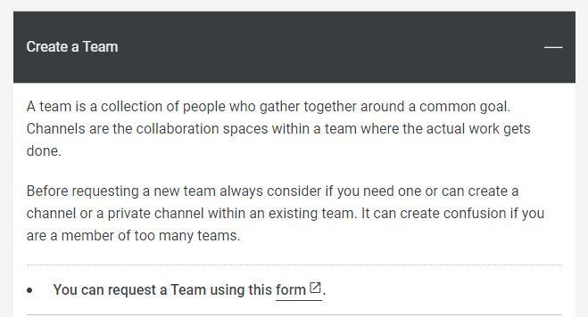 [Teams : Create a Team form]