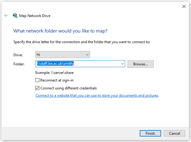 [Picture of Map Network Drive Dialog]
