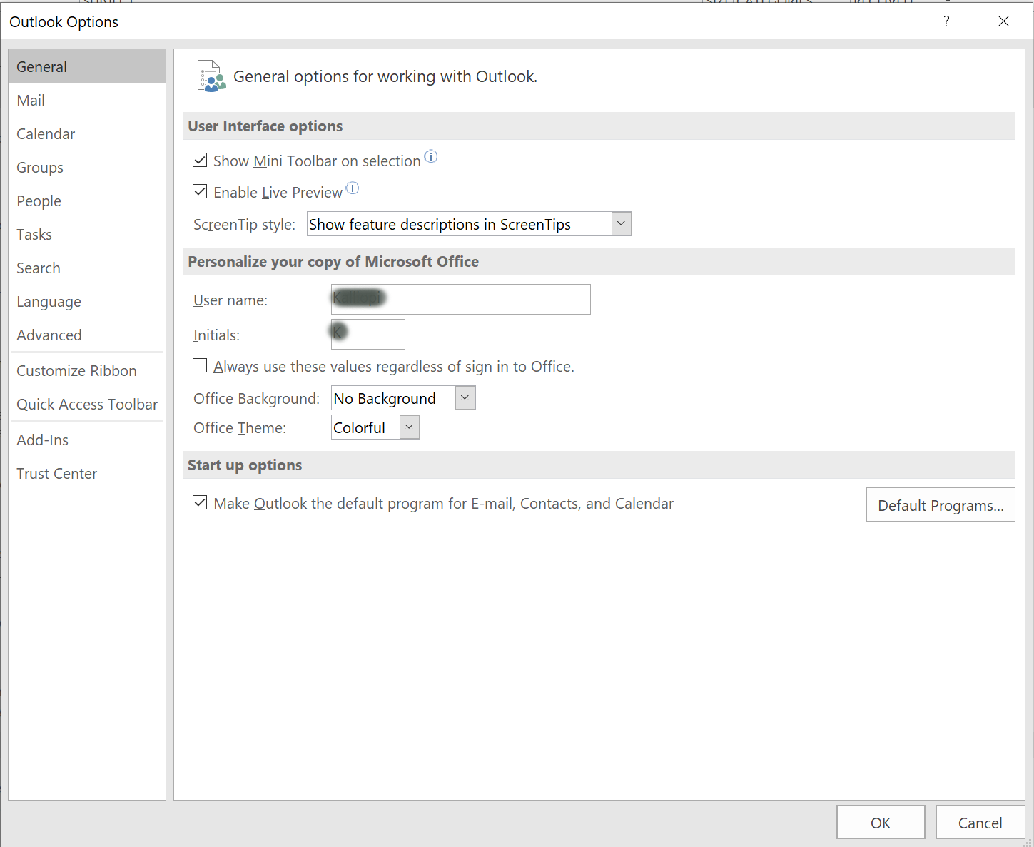 [Picture of OUTLOOK OPTIONS DIALOG BOX]