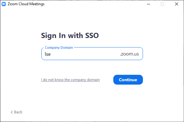 [Picture of ZOOM COMPANY DOMAIN DIALOG BOX]