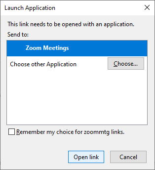 [Picture of ZOOM OPEN LINK DIALOG BOX]